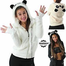 Felpa donna con cappuccio e zip orecchie panda orso giacca calda pile pelliccia