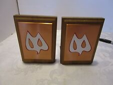 Danish Mid-century Owl Bat bookends Copper tone Metal teak stylized minimalist