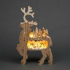 Laser Cut Wooden Reindeer Battery Operated LED Christmas Home Decorations Gifts