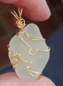 Chesapeake Bay Surf Frosted White Seaglass wire wrapped pendant / ornament #605
