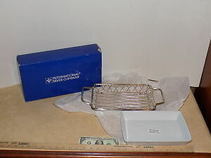 NIB International Silver Company Handled Basket & White Porcelain Serving Dish