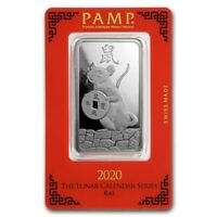 2020 ~ 1 ~ OZ ~ 999 SILVER ~ YEAR of the RAT ~ PAMP SUISSE ~ SEALED BAR ~ $50.88