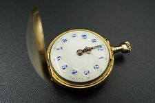 Antique Le Coultre et Cie 18k Gold Floral Case Ladies Pendant Pocket Watch W153