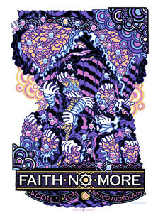 FAITH NO MORE silkscreened poster Portland 2015 by Guy Burwell LAST COPIES!
