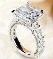4.21cts Asscher Cut Solitaire Diamond Engagement Ring Band Solid 14k White Gold