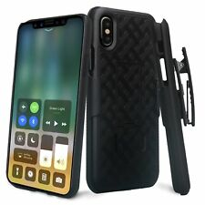 Apple iPhone X Belt Clip Holster Combo Cell Phone Case Kickstand Slim Fit BLACK
