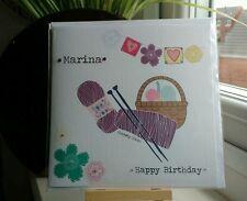 Handmade Personalised Knitting Crochet Female Birthday Card Mother's Day Mum Nan