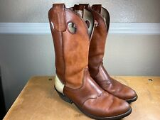 Olathe Boots Made in USA Brown Leather Western Cowboy Boots Mens Size 9D