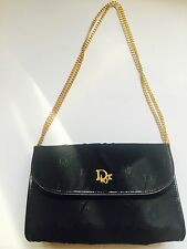 3-in-1 Convertible CHRISTIAN DIOR Vintage Print Logo Navy Purse W/Gold Chain!