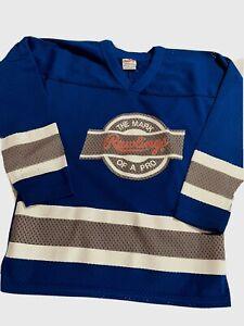 Vintage Retro Rawlings Pro Mesh Royal Blue White Gray Jersey Youth Medium