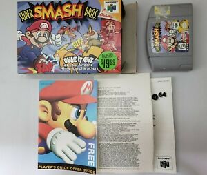 Super Smash Bros N64 Nintendo Authentic NEAR Complete in Box CIB NO Manual WOW!