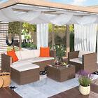 4pcs Patio Furniture Outdoor Rattan  Wicker Sofa Garden Conversation Set Couch