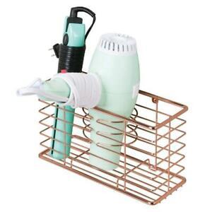 Storage Basket Wall Mount Hair Dryer Accessories Organizer Rose Gold Metal Wire