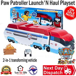 Paw Patrol Launch 'N Haul Paw Patroller 2 In 1 Playset  True Metal Car Kids New