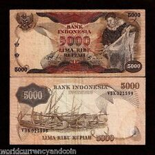INDONESIA 5000 5,000 RUPIAH P114 1975 FISHING NET BOAT CURRENCY MONEY BILL NOTE