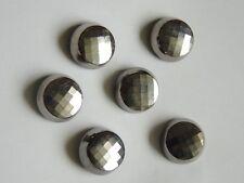 Lot de 6 boutons anciens en verre noir, effet miroir argenté. French buttons