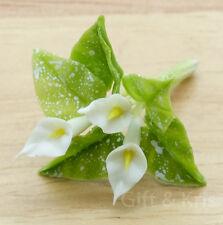 Clay Dollhouse Miniature Handmade Calla Arum Lily White Flower - F-Calla024