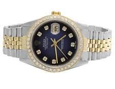 Rolex Datejust 2 Tone 18K/ S.Steel 36MM Quickset Blue Dial Diamond Watch 3.0 Ct