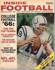1966 Inside Football magazine John Johnny Unitas, Baltimore Colts FAIR