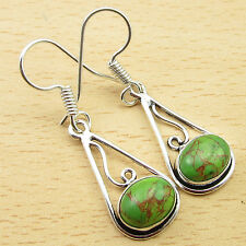 "1.6"" Earrings, GREEN COPPER TURQUOISE MADE IN INDIA Silver Plated Jewelry NEW"