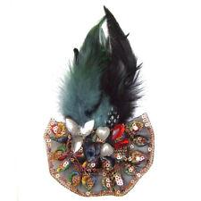 Pince à cheveux bibi rétro années folles ruban plumes bleu gris noire et cuivré