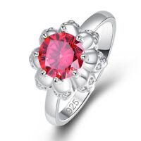 Pretty Flower Fashion Jewelry Garnet White Topaz Gemstone Silver Ring Size 6 789