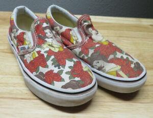 Vans Disney Beauty Beast Belle Slip On Shoes Toddler Girls Size Youth 1.5