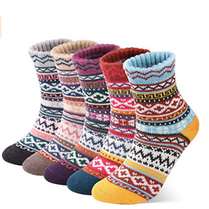 5 Pairs Womens Thick Socks Wool Thermal Warm Knitting Nordic Ladies Socks Winter