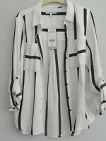 WHITE / NAVY NEXT STRIPE LONG SLEEVE TUNIC BLOUSE TOP SHIRT PETITE SIZE 10 NEW