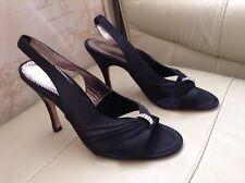 ❤️Bourne ❤️Size 6.5 Black satin diamanté High Heel Shoes Sandals Weddings New 40