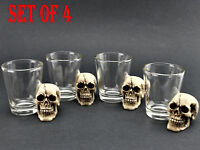 [Set of 4] Skull Shot Glass Skull Head Pirate Shot Glass Cup Wine Vodka Whiskey
