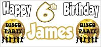 Disco Ball 6th Birthday Banner x 2 Kids Party Decorations Personalised ANY NAME