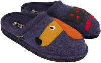 HAFLINGER THEO JEANS BLUE SLIPPERS WOOL FELT MEN'S WOMEN'S WITH DOG UNISEX
