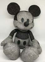 """Disney Parks Exclusive Gray Denim Mickey Mouse 13"""" Plush New With Tag"""