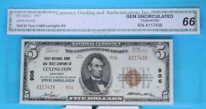 1st National Bank of Lexington KY CH# 906 Gem 66  Type 2 FR# 1800-2  stk# KSLC