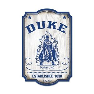 "DUKE BLUE DEVILS COLLEGE VAULT WOOD SIGN 11""X17'' BRAND NEW WINCRAFT"