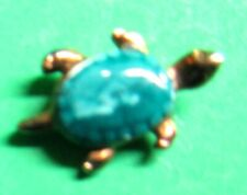 """Vintage Green Gemstone Turtle Tie Tac Lapel Scatter Pin Approx 1/2"""" (P169)"""
