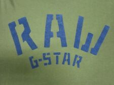 G STAR RAW MENS DARK OLIVE GREEN W/ BLUE GRAPHIC L/S SLIM FIT SHIRT SIZE LARGE