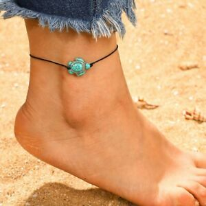 Womens Turquoise Tortoise Charm Cord Anklet Black Faux Leather NWOT