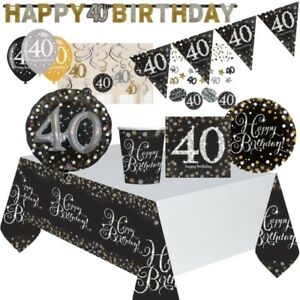 Black, Gold, Silver 40th Birthday Party Supplies Tableware, Decoration, Balloons