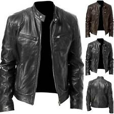 Vintage Mens Faux Leather Zipper Jacket Autumn Winter Motorcycle Coat Outwear