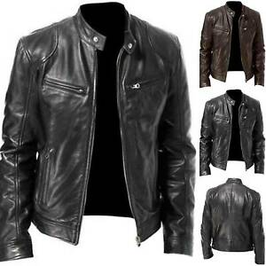 Priessei Mens Casual PU Leather Jacket Slim Fit Bomber Jackets with Removable Hood Windbreaker Coat