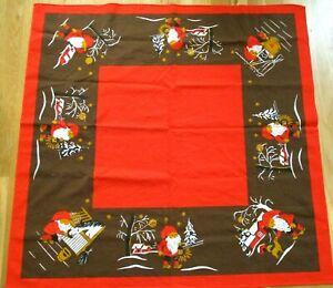 "Vtg Sweden Christmas Tablecloth Hilja Elves Gnome Tomten Nisse 33"" Square Horse"