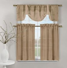 3 Piece Set of Embroidered Kitchen Window Panels - Taupe