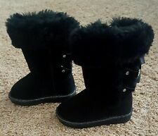 NWOB Toddler Girls Jumping Beans Boots size 6 Black Faux Fur