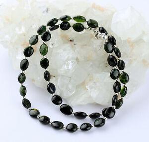 Green Tourmaline Necklace Precious Stone Verdelith Oval Women's 43 CM / 80 CT