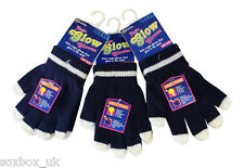 3 Pairs Boys Girls Glow in the dark magic gloves one size 4-10 years Navy Blue