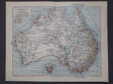 Landkarte von Australien, Tasmanien, Sydney, Perth, Brisbane, Meyer 1896