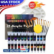 24Color Acrylic paint set + 12 Brush Set + 2 Scraper 40pcs Professional Painting