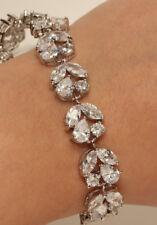 18K White Gold Finish Round and Marquise Diamond Tennis Bracelet 2ct